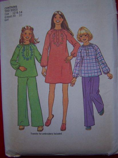 Uncut Vintage Girls Dress 12 14 Sewing Pattern 7317