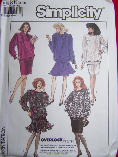 80s Vintage Sewing Pattern 8807 Pullover Top Ribbed Knit Sleeve Waist & Skirt