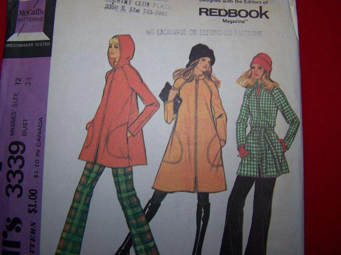 1970's Vintage Unlined Hippie Tent Swing Coat Jacket Sewing Pattern OOP 3339