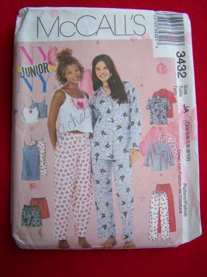 Juniors Sleep Lounge Pants Pajama Top Nightgown Camisole Shorts Sewing Pattern 3432