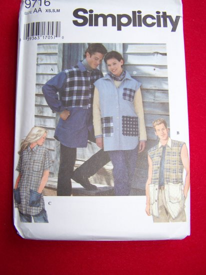 Misses Men's Teens Shirts Button up XS S M Uncut Sewing Pattern 9716