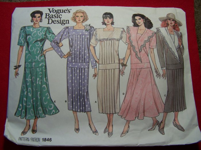 Vintage Vogue Basic Design Dress 14 16 18 Sewing Pattern 1846