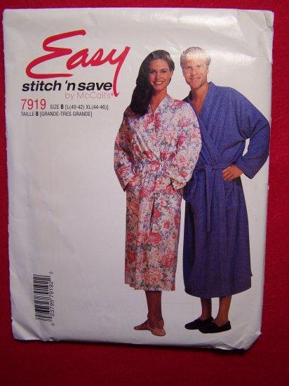 Misses Mens Teens Kimono Robe Tie Belt Sz L XL Sewing Pattern 7919