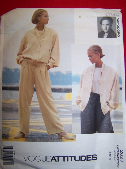 Vogue American Designer Pomodoro Slouchy Jacket Straight Leg Pants 8 10 12 Sewing Pattern 2627