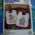 Vintage Bucilla Pair of Bibs Craft Kit Rocking Horse and Sailboat Bears 49157