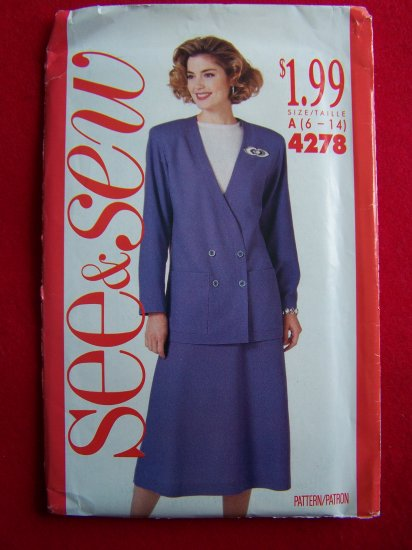 Vintage 1980s Double Breasted Jacket Flared Skirt Suit Sew Pattern 4278 Penny S&H