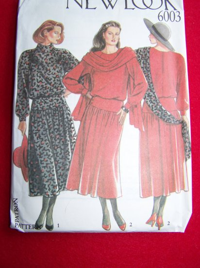Vintage New Look Dress and Scarf 8 10 12 14 16 18 Sewing Pattern 6003