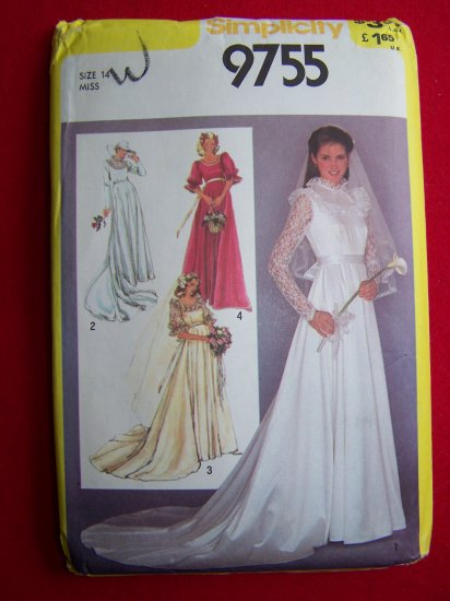 80s Vintage Bridal Gown Wedding and Bridesmaids Dress Prom Sz 14 Sewing Pattern 9755