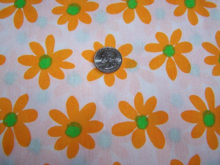 1 Yard Cotton Vintage Fabric Yellow Orange Daisy Coming Up Daisies Material