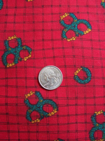 1 Yard Christmas Cotton Wreath Fabric Country Primitive Crafts Quilting