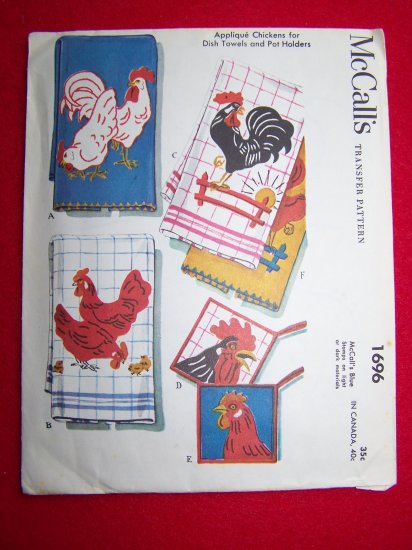 Uncut 1940s Vintage Transfer Pattern Country Chicken Rooster Chicks McCall's 1696 Retro Kitchen