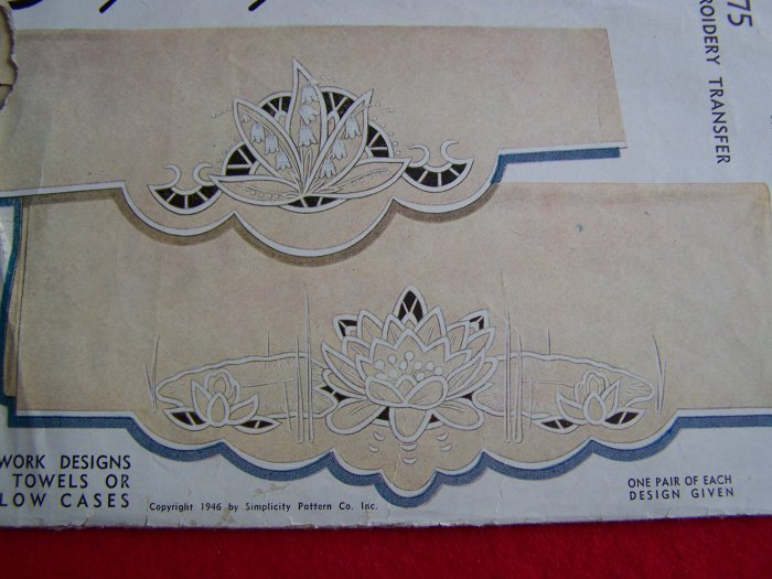 1940's Vintage Embroidery Transfers Cutwork Patterns for Towels or Pillowcases Simplicity 7175