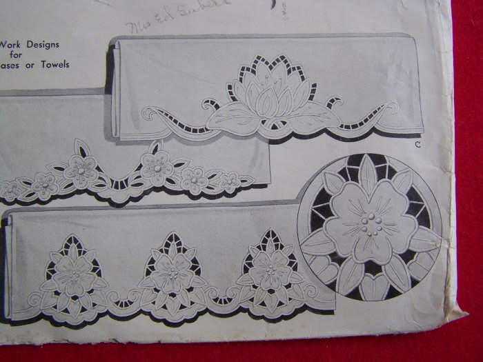 Vintage McCall Kaumagraph Blue Transfer Pattern Cut Work Pillowcase Towels Iron On