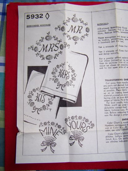 Vintage Iron On Embroidered Monograms Embroidery Patterns