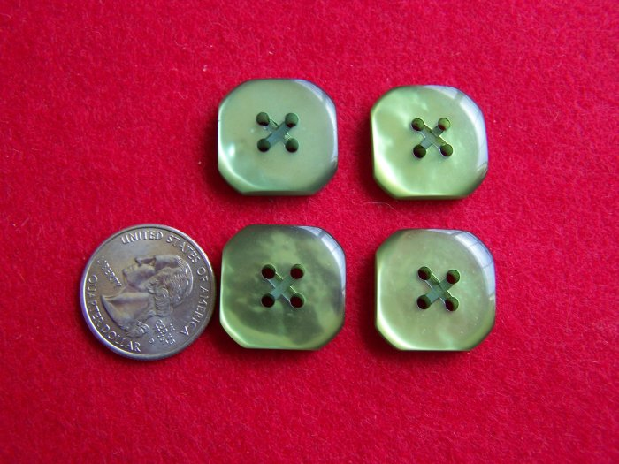 """4 Vintage Green Buttons 7/8"""" Flat Back 4 Hole"""