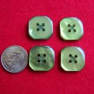 "4 Vintage Green Buttons 7/8"" Flat Back 4 Hole"