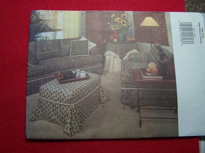 Butterick 3817 Slipcover Patterns Home Decorating Couch Ottoman Curtains Penny S&H
