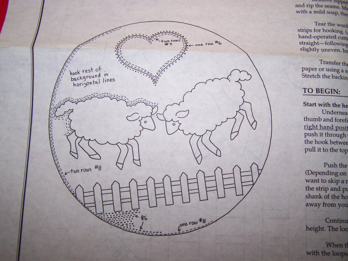 Country Sheep and Heart Rug Hooking Chair Pad Pattern Primitive 1 Penny USA Shipping