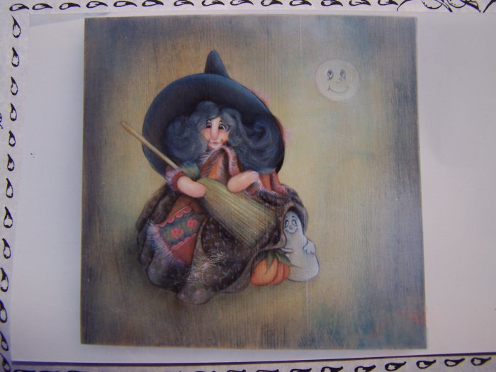 Halloween Pattern Chubby the Witch Acrylic Paint on Wood 1 Penny USA Shipping
