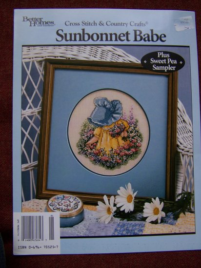 Vintage Sunbonnet Babe Cross Stitch Pattern Sweet Pea Sampler 1 Penny USA S&H