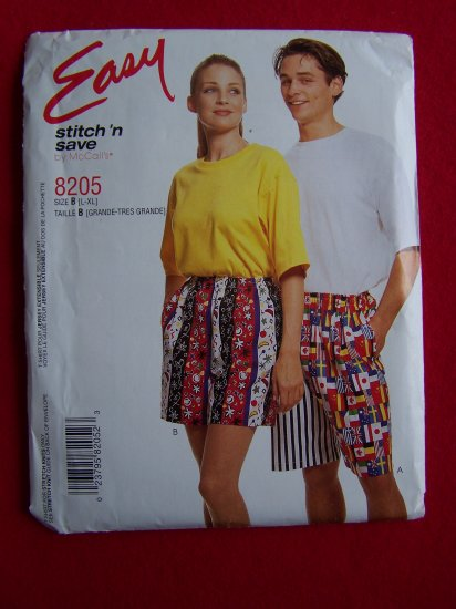Mens or Misses T Shirt Pull on Shorts L XL McCall's Sewing Pattern 8205 $1 USA S&H