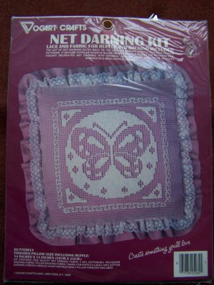 Vintage Vogart Crafts Net Darning Butterfly Pillow Kit 2526B USA $1 Shipping