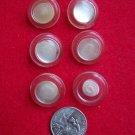 Vintage Sewing Buttons Round Clear Lucite Plastic Pearl Disk Center Shank 7/8 US 10 C S&H