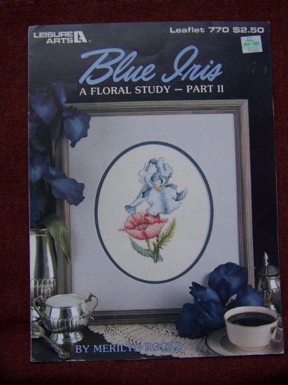 2 Vintage Leisure Arts Pattern Leaflets Counted Cross Stitch Blue Peach Iris 769 770