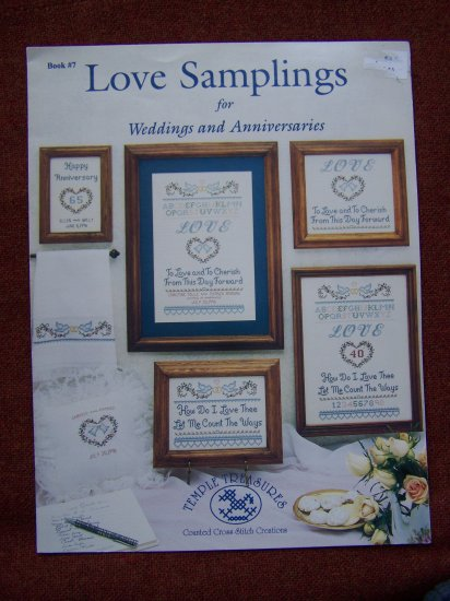 Cross Stitch Patterns Temple Treasures Love Samplings Wedding Anniversaries USA 1 Cent S&H
