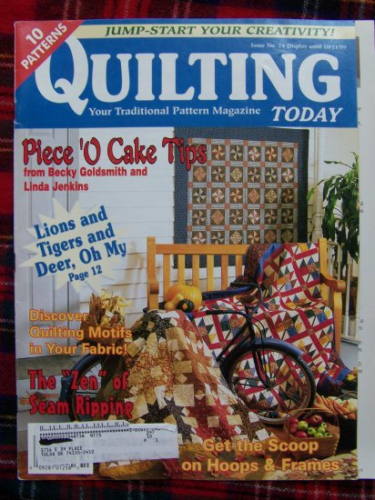 Quilting Today Pattern Magazine 10 Quilt Patterns # 74 Sept Oct 1999