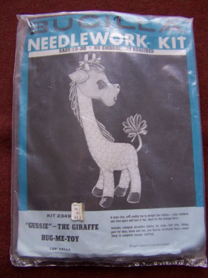 SALE 1960s Vintage Bucilla Needlework Kit Gussie The Giraffe Stuffed Animal Toy 2349