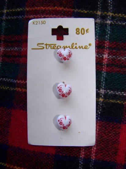 Vintage West Germany Streamline Floral Heart Buttons Shank Back 7/16 USA 1 Cent S&H