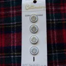 Vintage Sewing Buttons Costumakers Round White Gold Edge and Crest New on Card 1 Cent S&H