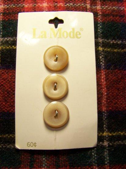 Vintage La Mode Button Card Round Tan Brown Plastic 2 Hole Sew Thru 1 Cent S&H