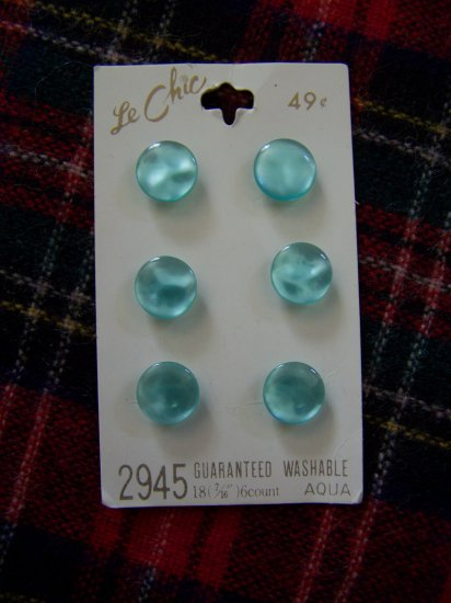 6 Vintage Le Chic Aqua Pearl Buttons Carded Shank Retro 1 Cent US Shipping