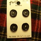 4 Vintage Pacific Buttons Black Round 5/8 Plastic Matte Center Shiny Rim 1 Cent US S&H