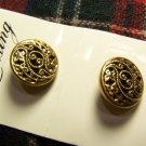 Vintage Lansing Buttons Gold Round Filigree Metal Floral Scroll 1 Cent USA Shipping