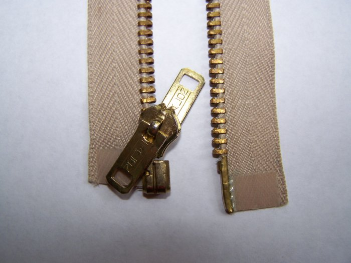 "New Vintage Talon Metal Zipper Separating Reversible 18"" Khaki Tan Jacket Coat"