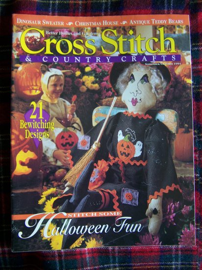 Cross Stitch & Country Crafts Pattern Magazine Halloween Christmas Sept Oct 1994