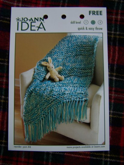 Quick and Easy Knitting Pattern Throw Blanket Afghan 1 Cent USA S&H