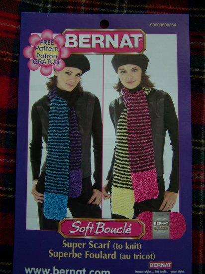 Bernat Knitting Pattern Super Scarf Boucle Yarn 1 Cent USA Shipping