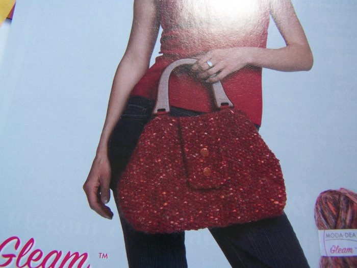Knitting Pattern Knit Button Bag Purse Wood Handle Tote 1 Cent USA Shipping