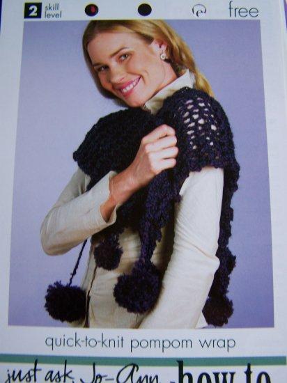 Quick Pom Pom Stole Wrap Knitting Pompom Pattern USA 1 Cent Shipping