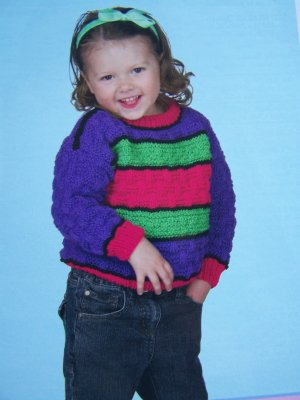 2 4 6 Childs Knitting Pattern Knit Pullover Sweater 1 Cent USA Shipping