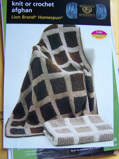 Knitting or Crochet Pattern Squares Afghan Blanket Throw USA 1 Cent S&H