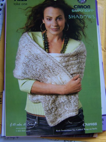 Cable Knit Shoulder Cabled Stole Wrap Knitting Pattern USA 1 Cent S&H