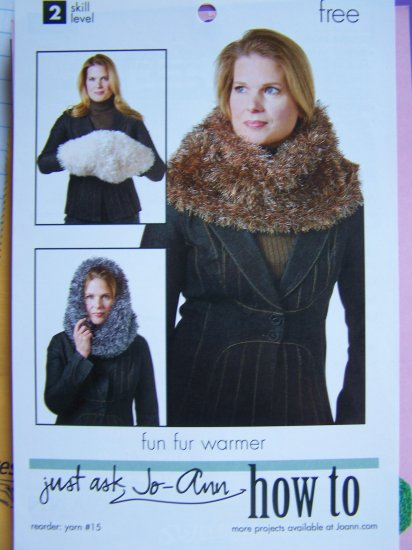 Misses Fun Fur Warmer Hoodie Muffler Neck Wrap Knitting Pattern 1 Cent US SHipping