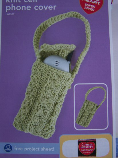 Cable Knit Cell Phone Holder Purse Knitting Pattern USA 1 Cent S&H