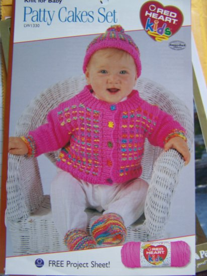 Infant Cardigan Sweater Hat Socks Set Knitting Pattern  6 9 12 18 Months USA 1 C S&H