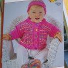 Infant Cardigan Sweater Hat Socks Set Knitting Pattern  6 9 12 18 Months USA 1 C S&H